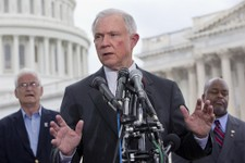 -                FILE - In this June 20, 2013 file photo, Sen. Jeff Sessions, R-Ala., center, speaks at a news conference hosted by the Tea Party Patriots to oppose the Senate immigration reform bill, o