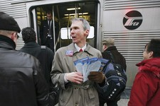 -                FILE - In this Jan. 14, 2008 file photo, U.S. Rep. Dan Lipinski, D-Ill., campaigns for re-election at a Metra commuter train station in Berwyn, Ill. Lipinski says public transit agencie