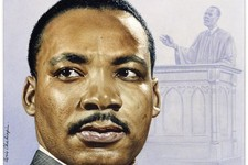 -                This undated handout image provided by the National Portrait Gallery shows a Watercolor and pencil, done in 1957 by Boris Chaliapin of Rev. Martin Luther King Jr., which is the original