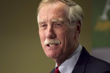 -                FILE - In a Wednesday, Nov. 7, 2012 file photo, Independent Senator-elect Angus King speaks at a news conference, in Freeport, Maine. King says he's reluctant to endorse a federal ban o