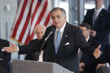 -                U.S. Transportation Secretary Ray LaHood announces during a news conference in Detroit, Friday, Jan. 18, 2013 that the federal government will award $25 million toward the $140-million