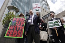 -                FILE - This May 6, 2013 file photo shows medical marijuana demonstrators holding up signs outside of the Federal Courthouse in Sacramento, Calif. The California Supreme Court ruled that