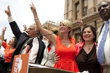 -                Democrat state senators, from left, Kirk Watson, Wendy Davis, Leticia Van de Putte and Royce West participate in a pro-abortion rights rally at the state Capitol in Austin, Texas, on Mo