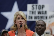 -                Sen. Wendy Davis, D- Fort Worth, speaks during a rally against abortion legislation, Monday, July 1, 2013, in Austin, Texas. The Texas Senate has convened for a new 30-day special sessi