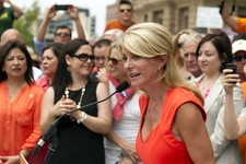 -                State Sen. Wendy Davis, D-Fort Worth, speaks at an abortion rights rally at the state Capitol in Austin, Texas, on Monday July 1, 2013.  The Texas Senate has convened for a new 30-day s