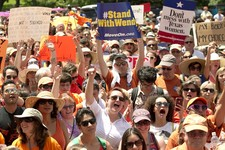 -                Abortion rights supporters rally on the south lawn of the state Capitol in Austin, Texas, on Monday July 1, 2013.  The Texas Senate has convened for a new 30-day special session to take