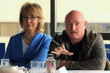 -                Former U.S. Rep. Gabrielle Giffords, D-Ariz., and her husband, former astronaut Mark Kelly, speak to Alaska gun owners at a roundtable meeting in the Captain Cook Hotel on Tuesday, July