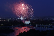 -                Fireworks light the sky over the U.S. Capitol, left, the Washington Monument and the Lincoln Memorial during Fourth of July celebrations, Thursday, July 4, 2013 in Washington. Surrounde
