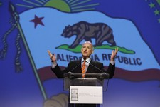 -                FILE - In this May 22, 2013 file photo, Gov. Jerry Brown speaks at a gathering of business leaders at the California Chamber of Commerce's  88th Annual Sacramento Host Breakfast in Sacr