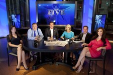 "-                This July 1, 2013 photo shows, from left, Kimberly Guilfoyle, Bob Beckel, Eric Bolling, Dana Perino, Greg Gutfeld and Andrea Tantaros co-hosts of Fox News Channel's ""The Five""  followin"
