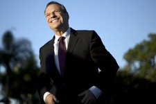 -                FILE - This Nov. 7, 2012 file photo shows San Diego Mayor Bob Filner smiling during a news conference at a park in San Diego. A prominent onetime supporter of Mayor Filner is calling fo