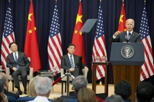 -                Chinese State Councilor Yang Jiechi, left, and Chinese Vice Premier Wang Yang, center, listen as Vice President Joe Biden speaks during the opening session of the 2013 Strategic and Eco