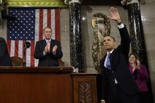 -                FILE - In this Feb. 12, 2013 file-pool photo, President Barack Obama waves and House Speaker John Boehner of Ohio applauds after the president gave his State of the Union address during