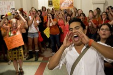 -                Dave Cortez, right, and other abortion rights advocates scream outside the Senate Chamber during the debate of abortion restriction bill, Friday July 12, 2013, in the Capitol in Austin,