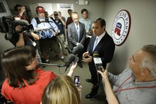 -                U.S. Sen. Ted Cruz, R-Texas, talks to reporters after speaking at a fundraising picnic for the Iowa Republican Party, Friday, July 19, 2013, in Des Moines, Iowa. (AP Photo/Charlie Neibe
