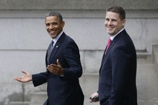 -                FILE - In this Jan. 16, 2013 file photo, President Barack Obama, and White House Senior Advisor Dan Pfeiffer react to a reporter's question as they leave the Treasury Department in Wash