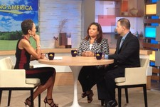 "-                This image released by ABC shows host Robin Roberts, left, with Juror B29 from the George Zimmerman trial, center, and attorney David Chico on ""Good Morning America,"" in New York on Thu"