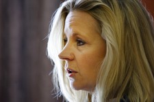 -                Liz Cheney, daughter of former Vice President Dick Cheney, talks to the press on Wednesday, July 17, 2013, at the Parkway Plaza in Casper, Wyo. Cheney announced her intention to run aga