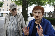 -                Jerry, left, and Evelyn Stern shared their views on Anthony Weiner's run for mayor outside of the Council Center for Senior Citizens, in Brooklyn's Midwood neighborhood on Thursday, Jul