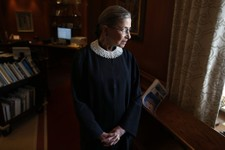 -                Associate Justice Ruth Bader Ginsburg poses for a photo in her chambers at the Supreme Court in Washington, Wednesday, July 24, 2013, before an interview with the Associated Press. Gins