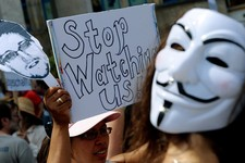-                Protesters demonstrate against supposed NSA surveillance in Germany during a rally in Hannover, Germany, Saturday July 27, 2013.  (AP Photo/dpa, Peter Steffen)