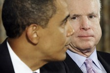 -                FILE - In this June 25, 2009 file photo, Sen. John McCain, R-Ariz. watches as President Barack Obama meets with members of Congress to discuss immigration, in the State Dinning Room of