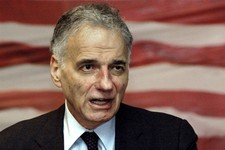 -                FILE - In this April 27, 2008 file photo, Ralph Nader speaks to supporters as he campaigns for his 2008 independent presidential bid in Waterbury, Conn. Nader is planning the American M