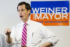 -                New York City mayoral candidate Anthony Weiner speaks to voters during a campaign stop at the Nan Shan Senior Center, Monday, July 29, 2013, in the Queens borough of New York. Weiner co