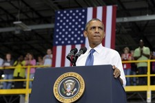 -                President Barack Obama speaks at the Amazon fulfillment center in Chattanooga, Tenn., Tuesday, July 30, 2013. Obama came to Chattanooga to give the first in a series of policy speeches