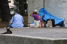 -                Homeless people sit near a cat at a park in Tokyo, Tuesday, July 30, 2013. Japan's industrial output fell in June for the first time in five months, the government said Tuesday as it re
