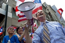-                FILE - In this June 12, 2011 file photo, New York mayoral candidate Anthony Weiner smiles after sharing a megaphone as he greeted parade goers in the Puerto Rican Day Parade in New York