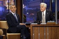 "-                FILE - This Oct. 24, 2012 file photo shows President Barack Obama with Jay Leno, right,  during the taping of his appearance on NBC's ""The Tonight Show with Jay Leno,""  in Burbank, Cali"