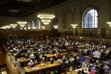 -                In this Monday, July 22, 2013 photo, patrons use the Rose Reading Room at the main branch of the New York Public Library in New York. Plans for a major change within the New York Public