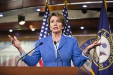 -                House Minority Leader Nancy Pelosi of Calif.  gestures during a news conference on Capitol Hill in Washington, Friday, Aug. 2, 2013, where she told  reporters that Congress has too much