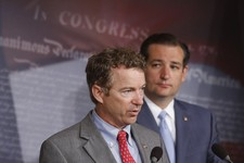 -                FILE - In this July 16, 2013 file photo Republican Sens. Rand Paul of Kentucky, and Ted Cruz of Texas take part in a news conference on Capitol Hill in Washington. About two months ago