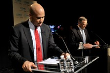-                In this photo provided by NJTV, Newark Mayor Cory Booker, left, and Rep. Rush Holt prepare for the U.S. Senate Democratic Primary debate televised on NJTV from Montclair State Universit