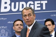 -                FILE  - In this April 10, 2013, file photo House Speaker John Boehner of Ohio, flanked by House Majority Leader Eric Cantor of Va., right, and Rep. Luke Messer, R-Ind., meet with report