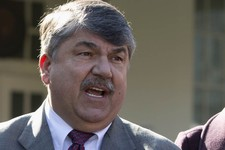 -                FILE - This Nov. 13, 2012 file photo shows AFL-CIO President Richard Trumka speaking to reporters outside the White House in Washington. The nation's labor unions suffered sharp decline