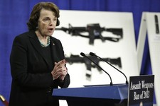 -                Sen. Dianne Feinstein, D-Calif. speaks during a news conference on Capitol Hill in Washington, Thursday, Jan. 24, 2013, to introduce legislation on assault weapons and high-capacity amm