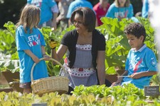 "-                FILE - In this June 3, 2011, file photo, first lady Michelle Obama tends the White House garden in Washington, with a group of children as part of the ""Let's Move!"" campaign. Michelle O"