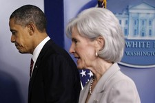 -                FILE - In this Feb. 10, 2012, file photo, President Barack Obama and Health and Human Services  Secretary Kathleen Sebelius leave the Brady Press Briefing Room of the White House in Was