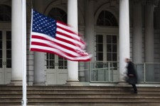 -                The American flag flies at half-staff outside City Hall to honor the death of former New York City Mayor Ed Koch, Friday, Feb. 1, 2013, in New York. Koch, the combative politician who r