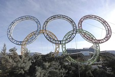 -                Olympic rings for the 2014 Winter Olympics are installed in the Black Sea resort of Sochi, southern Russia, late Tuesday, Sept. 25, 2012.  With the Winter Olympics a year away, IOC Pres