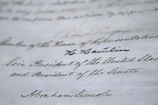 -                The signature of President Abraham Lincoln is seen on the 13th Amendment in a display at the Tennessee State Museum on Monday, Feb. 11, 2013, in Nashville, Tenn. The 13th Amendment, whi