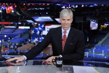 "-                This Aug. 26, 2012 photo released by NBC shows host David Gregory from ""Meet the Press"" during the Republican National Convention in Tampa, Fla. Gregory has re-upped as host of ""Meet th"