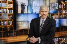 "-                This Feb. 24, 2013 photo released by NBC News shows moderator David Gregory on the set of ""Meet the Press,"" in Washington. The 42-year-old Gregory was named ""Meet the Press"" moderator i"