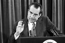 -                FILE – In this June 29, 1972, file photo President Richard Nixon speaks at a White House news conference in Washington during which he said he'd sign legislation banning Saturday night