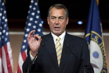"""-                House Speaker John Boehner of Ohio, makes a """"zero"""" gesture as he speaks with reporters about the federal budget on Capitol Hill in Washington, Thursday, March 14, 2013. Boehner was refe"""