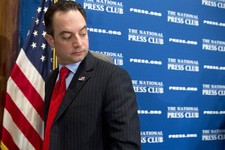 -                Republican National Committee (RNC) Chairman Reince Priebus leaves after speaking at the National Press Club in Washington, Monday, March 18, 2013. The RNC formally endorsed immigration