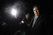 -                Former New Mexico Gov. Bill Richardson is interviewed by journalists after arriving at Pyongyang International Airport in Pyongyang, North Korea, Monday, Jan. 7, 2013. Richardson arrive